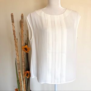 Adrianna Papell   sheer off white tank top blouse